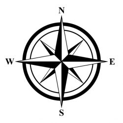 Basic Compass Rose on the White Background